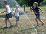 Chasing the sprinkler!