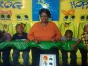 Mom, EJ, and Zion at Gatti Town
