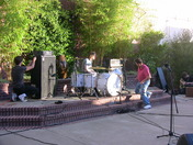Lite Bright setting up on the KCRA patio.