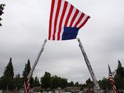 Sac Metro Fire trucks and flag