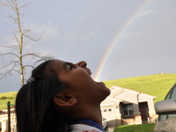 "Rainbow coming out of ""Nishka's"" mouth in Folsom, CA"