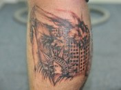 statue of liberty twin towers 911 tattoo