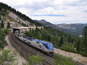 Eastbound Amtrak California Zephyr at Donner Lake, CA