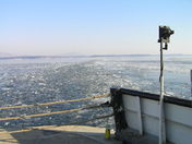Lake Champlain Winter ferry ride looking east