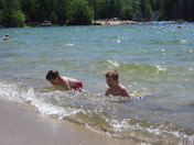 Playing in the lake