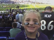 Talia loved being 18 rows off the field for the 1st game of the Season =)