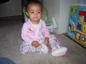 Kayla with Her Bunny Slippers