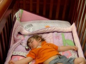Grandson Zonked Out in Target Crib Display