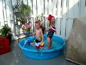 Cooling off in Grandma & Papas pool