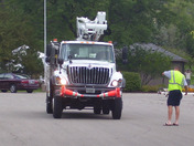 WE Energies truck responded to the resort to suspend electric (Photo by Dustin A