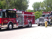 Emergency equipment staging area at Abbey fire (Photo by Dustin Alexander)