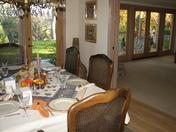 turkeys looking in on Thanksgiving dinner