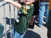 Liam 3 waiting for Packers :) 8-14-13