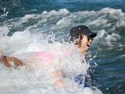 Daughter being splashed