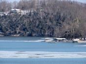 Ice Flow Forming Beaver Lake Arkansas