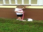 Hayley walking her Rabbit Scarlettt