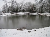 pond with snow