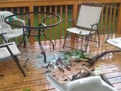 storm damage, a small limb took out our patio table 6/24/13