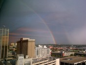 Double rainbow in downtown Omaha