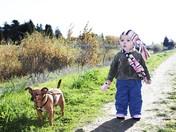 Sammie and Lilybug Walking Along San Lorenzo River Path