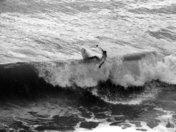 Pismo Pier Surfer b & w
