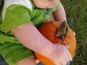 Grandson Wills first pumpkin!