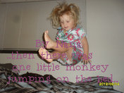 One little monkey jumping on the bed