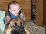 my godson and dog