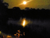 Moon over Adams Pond, August 22, 2013