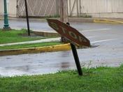 Stop sign blown over in Lewisburg