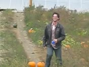 He was jumping over the pumpkins...haha