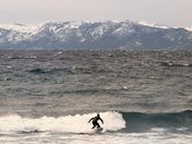 Tahoe Surfer braves the 37 degree water yesterday