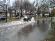 Flooded Street - Driver going to fast