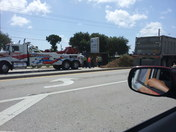 Truck flips on us1 and psl blvd from chuck roberts