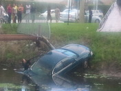 Car in canal on foresthill bogs today.