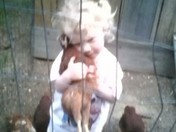 Ella & Francine, her pet chicken