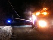 Portland & Westbrook Power Outage Jan 24 2013 Pole Down in Stroudwater CMP T