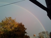cloudy but a rainbow this morning