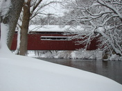 Snow covered Covered Bridge at Messiah College