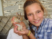 lindsey with baby bunny