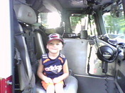 here's M.J. sitting in the new fire truck 2 in lancaster city