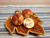 Green Chile Cream Cheese Bacon Aebleskivers with Warm Green Chile Raspberry Sauc