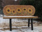 Sunflower Bench in Ice Storm