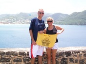 Terrible Towel on top of Fort Rodney in St. Lucia (honeymoon)