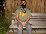protester sitting in schenley plaza  9/25/09