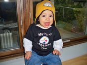 Tino in 1st Steelers T-shirt