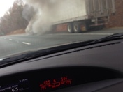 truck on fire on 52 toward pilot mt before Westinghouse exit