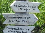 sign post on Straightback summit