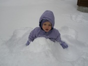 Snow covered toddler