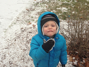 Benjamin playing in the snow